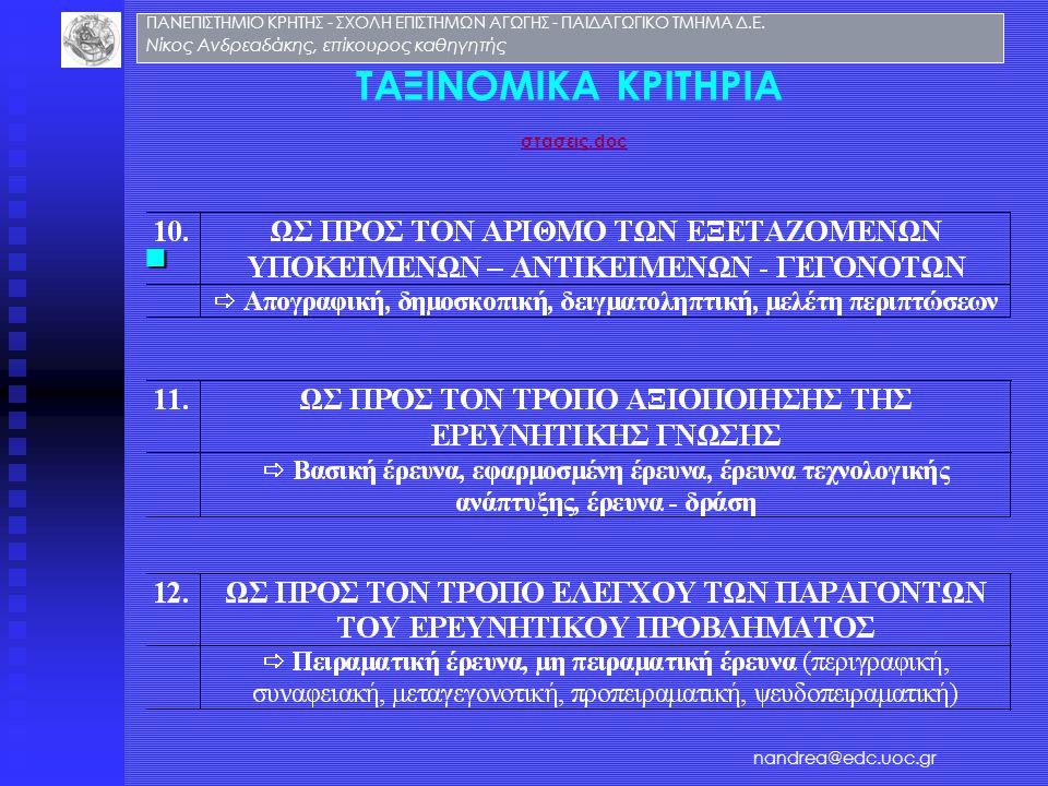 ΤΑΞΙΝΟΜΙΚΑ ΚΡΙΤΗΡΙΑ στασεις.doc