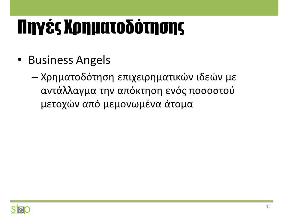 Πηγές Χρηματοδότησης Business Angels