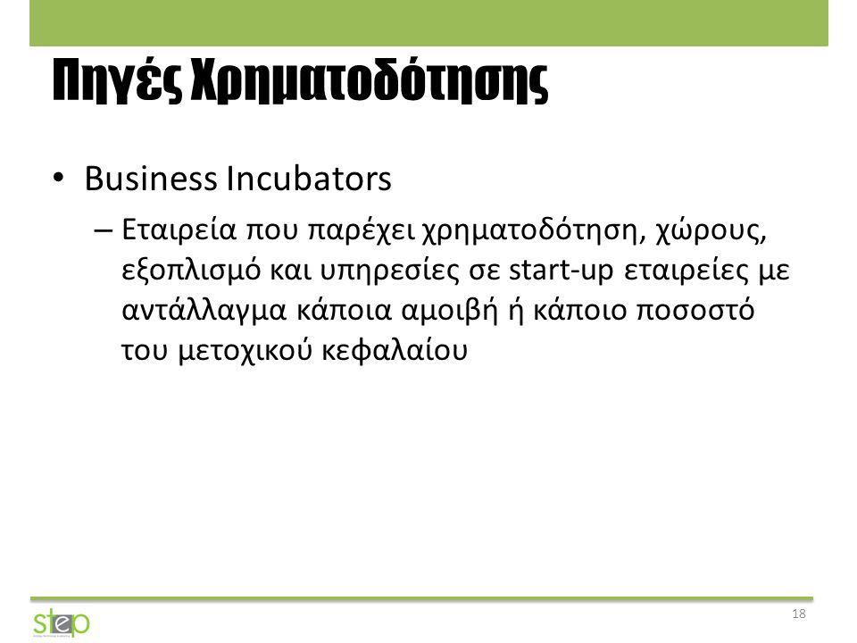Πηγές Χρηματοδότησης Business Incubators