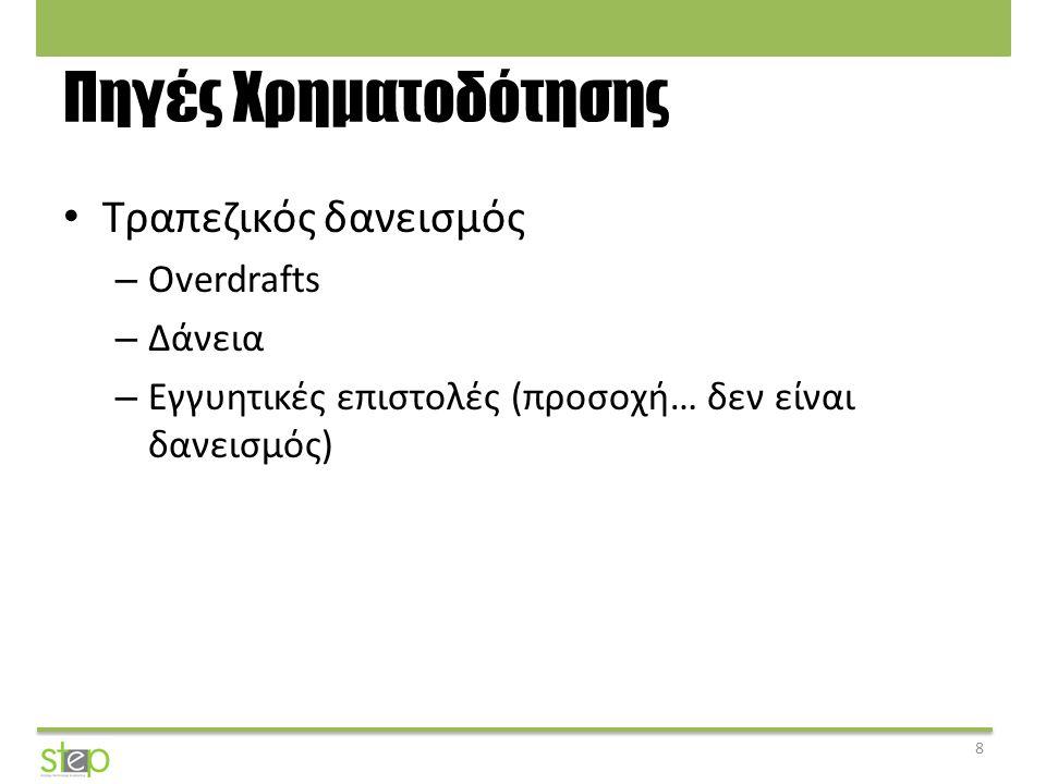 Πηγές Χρηματοδότησης Τραπεζικός δανεισμός Overdrafts Δάνεια