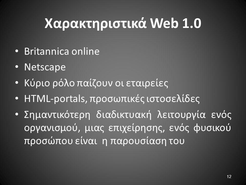 Χαρακτηριστικά Web 1.0 Britannica online Netscape