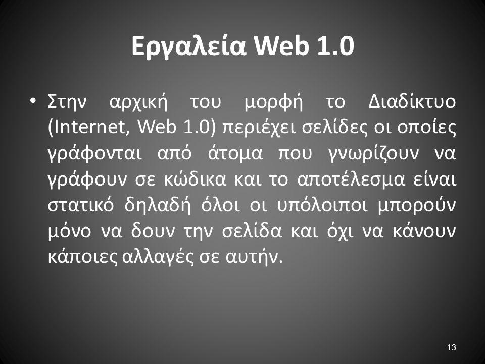 Εργαλεία Web 1.0