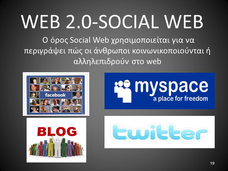WEB 2.0-SOCIAL WEB Ο όρος Social Web χρησιμοποιείται για να περιγράψει πώς οι άνθρωποι κοινωνικοποιούνται ή αλληλεπιδρούν στο web.