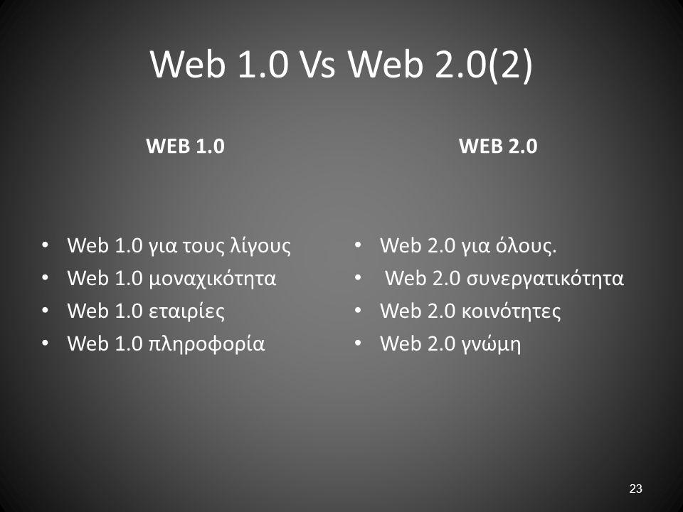 Web 1.0 Vs Web 2.0(2) WEB 1.0 WEB 2.0 Web 1.0 για τους λίγους