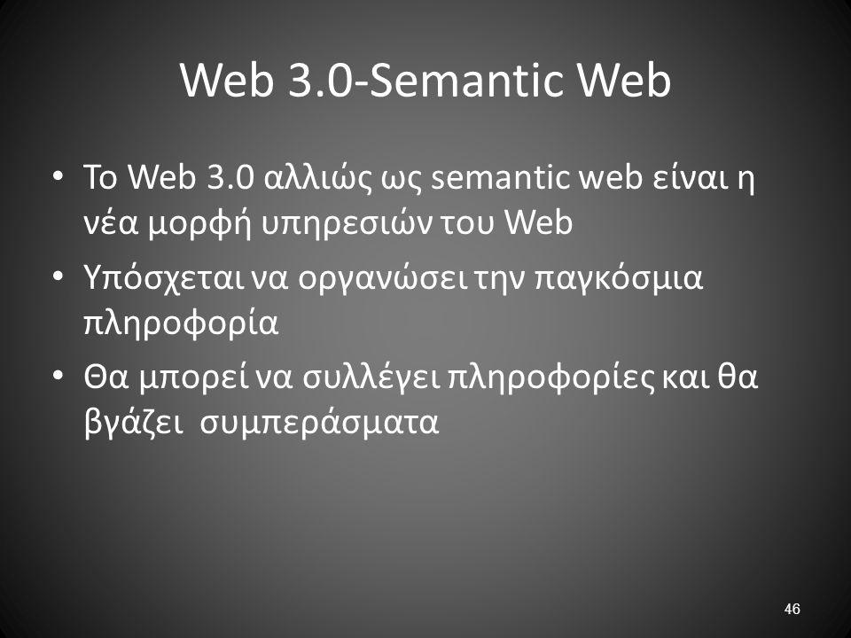 Web 3.0-Semantic Web Το Web 3.0 αλλιώς ως semantic web είναι η νέα μορφή υπηρεσιών του Web. Υπόσχεται να οργανώσει την παγκόσμια πληροφορία.