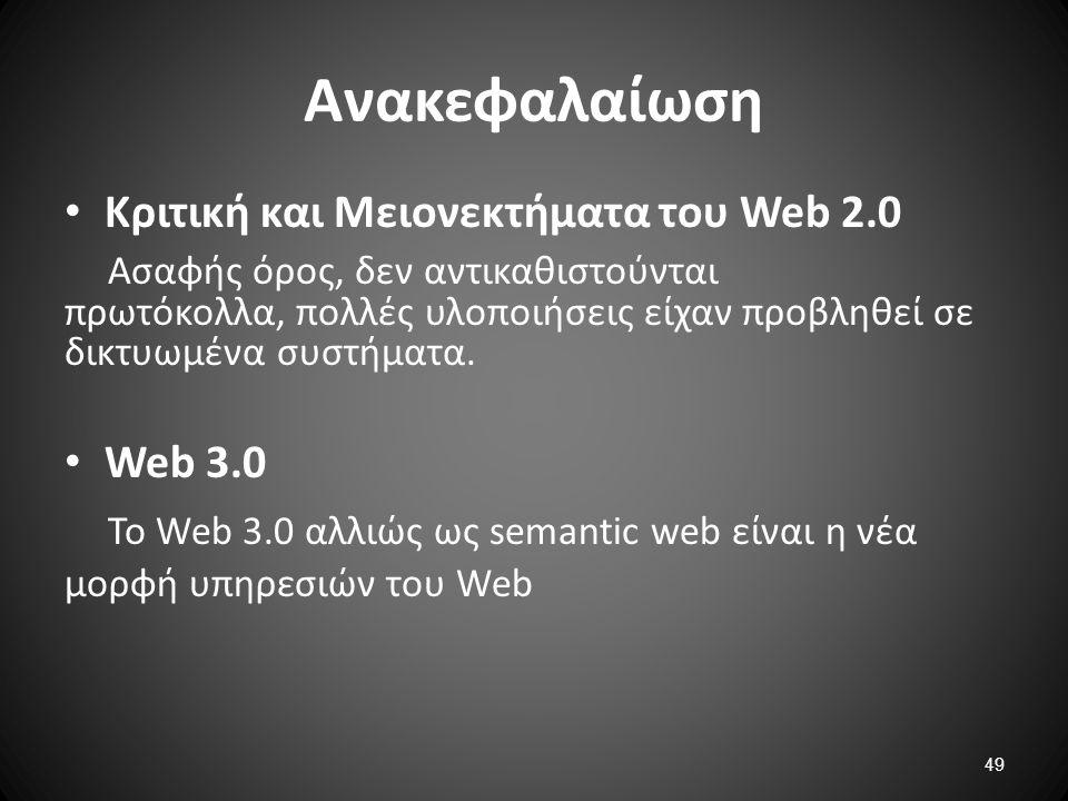 Ανακεφαλαίωση Κριτική και Μειονεκτήματα του Web 2.0