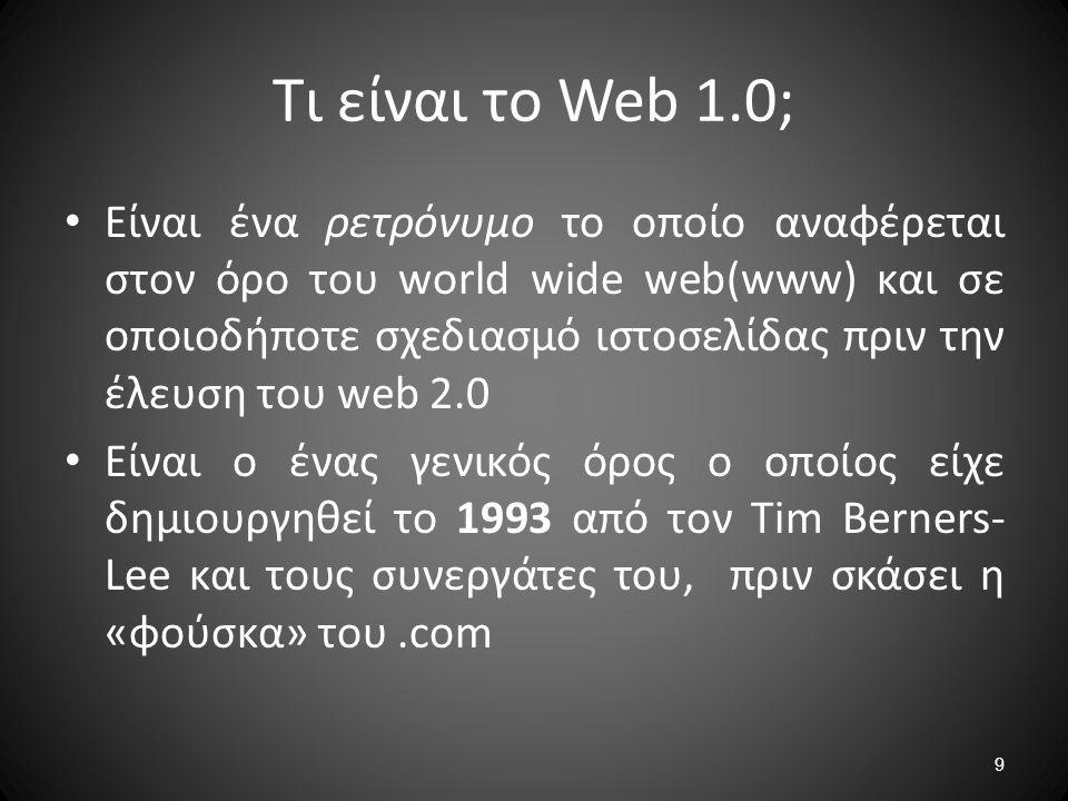 Τι είναι το Web 1.0;