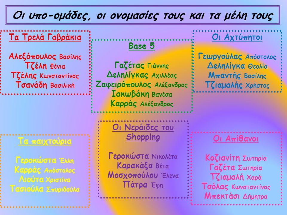 Οι υπο-ομάδες, οι ονομασίες τους και τα μέλη τους