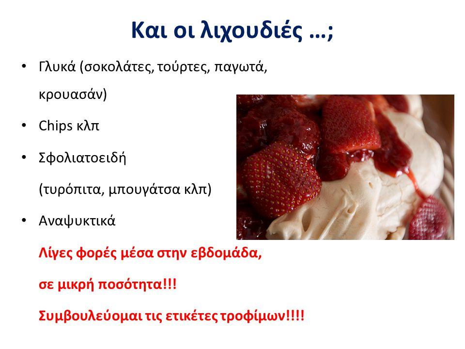 Και οι λιχουδιές …; Γλυκά (σοκολάτες, τούρτες, παγωτά, κρουασάν)