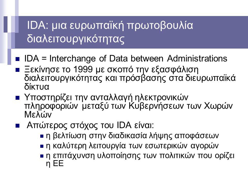 IDA: μια ευρωπαϊκή πρωτοβουλία διαλειτουργικότητας