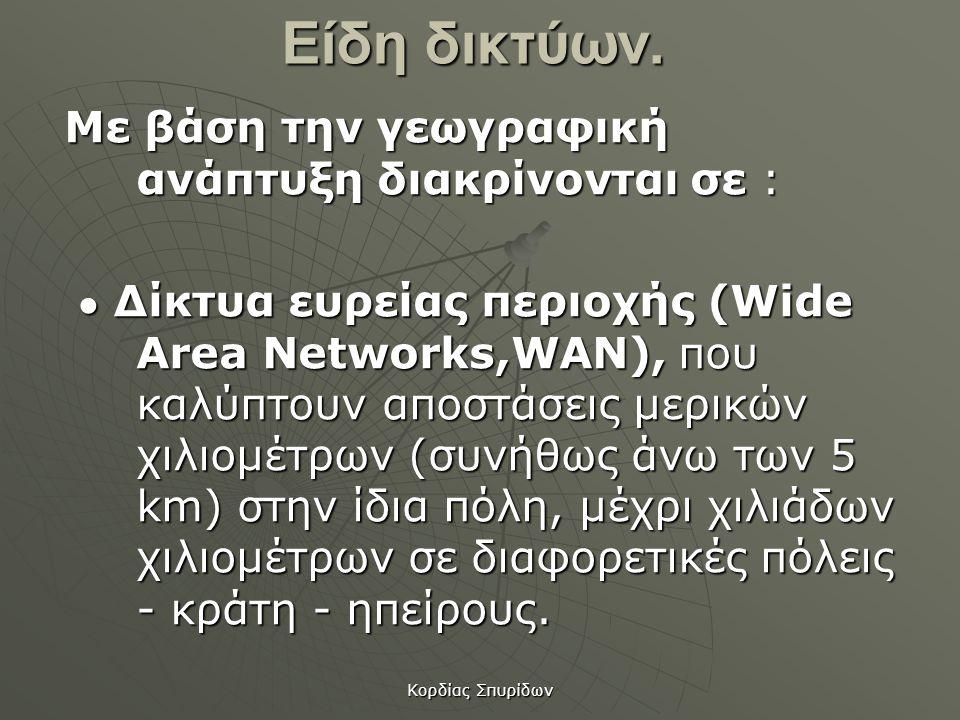 Είδη δικτύων. Με βάση την γεωγραφική ανάπτυξη διακρίνονται σε :