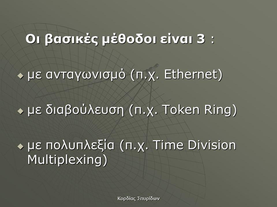 Οι βασικές μέθοδοι είναι 3 : µε ανταγωνισμό (π.χ. Ethernet)