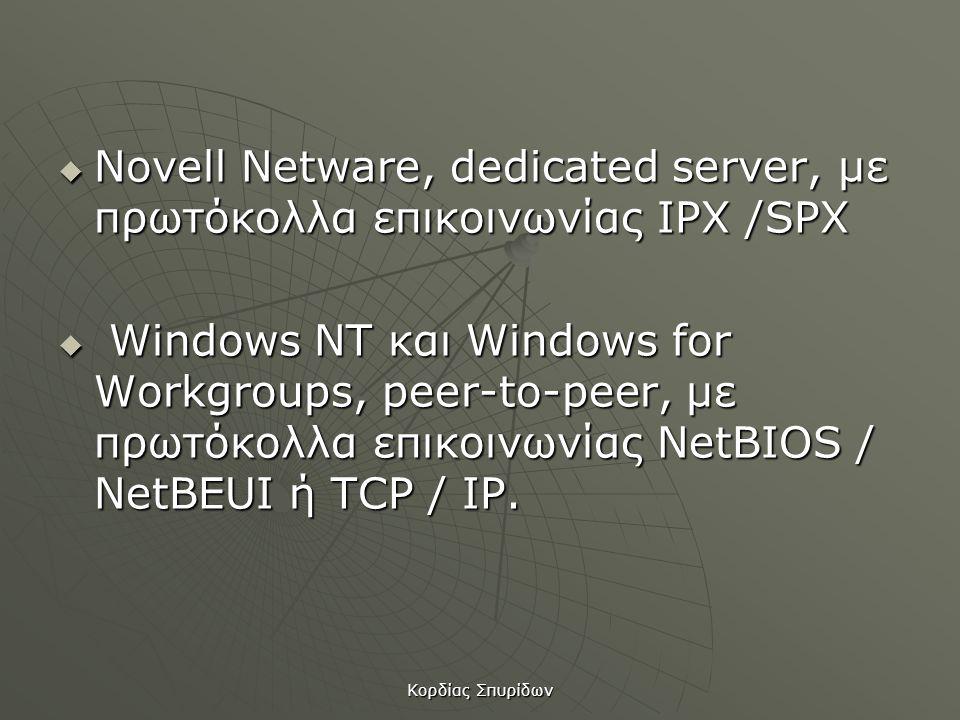Novell Netware, dedicated server, µε πρωτόκολλα επικοινωνίας IPX /SPX
