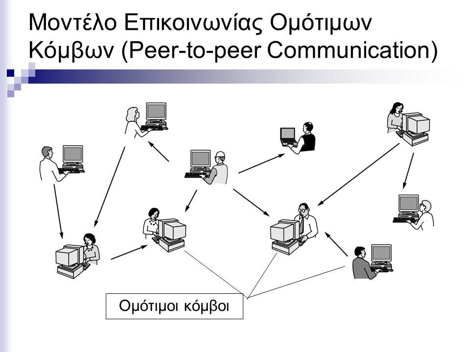 Μοντέλο Επικοινωνίας Ομότιμων Κόμβων (Peer-to-peer Communication)