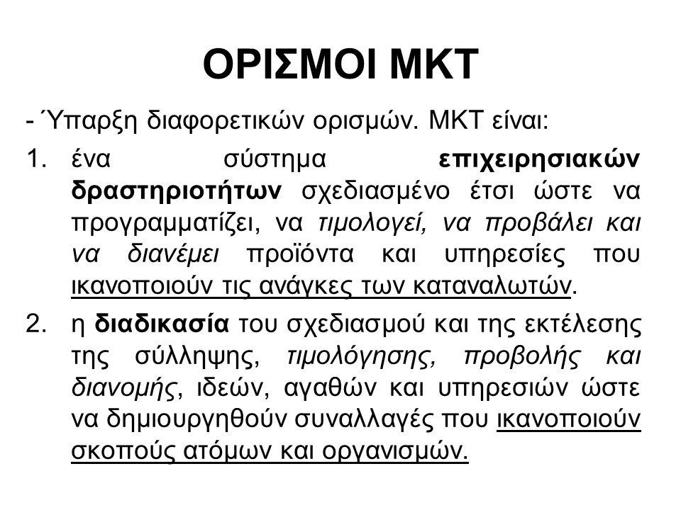 ΟΡΙΣΜΟΙ ΜΚΤ - Ύπαρξη διαφορετικών ορισμών. ΜΚΤ είναι: