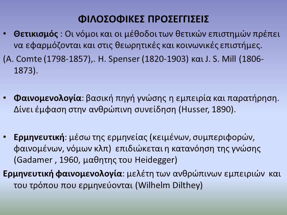 ΦΙΛΟΣΟΦΙΚΕΣ ΠΡΟΣΕΓΓΙΣΕΙΣ