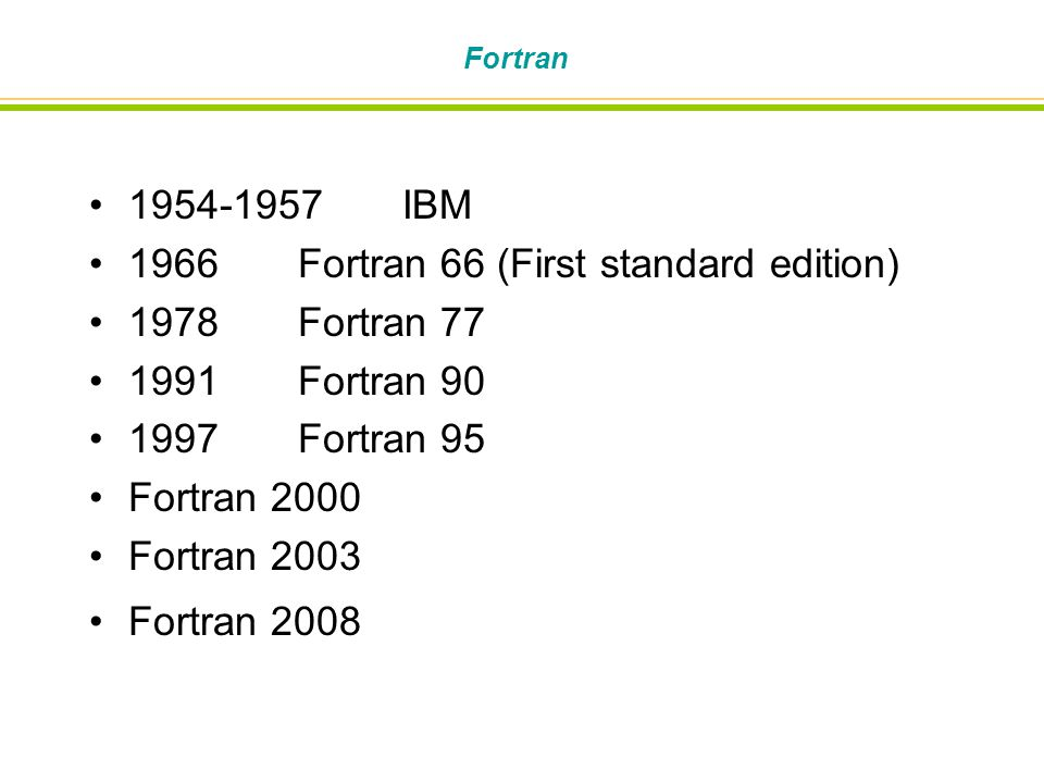 1966 Fortran 66 (First standard edition) 1978 Fortran 77