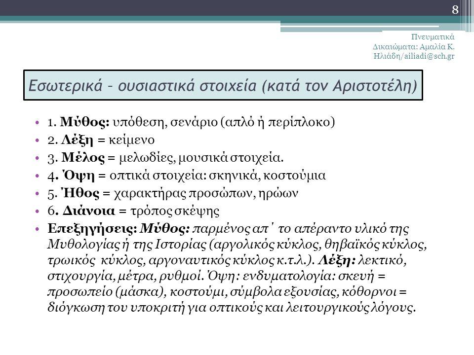 Εσωτερικά – ουσιαστικά στοιχεία (κατά τον Αριστοτέλη)