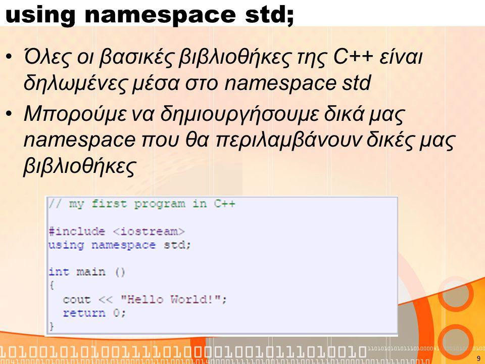 using namespace std; Όλες οι βασικές βιβλιοθήκες της C++ είναι δηλωμένες μέσα στο namespace std.