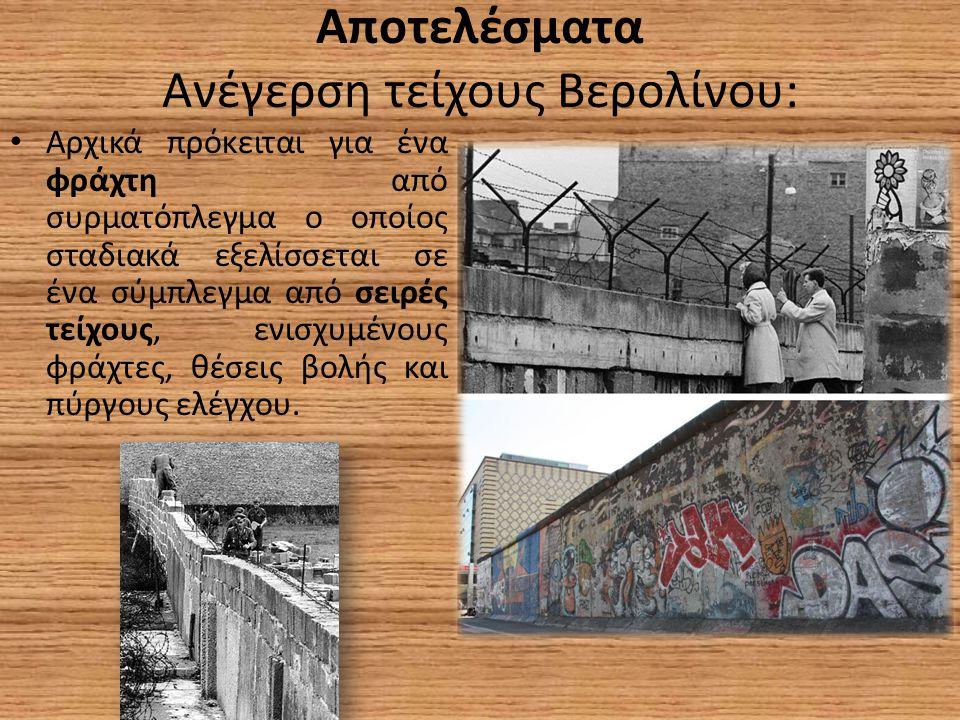 Αποτελέσματα Ανέγερση τείχους Βερολίνου: