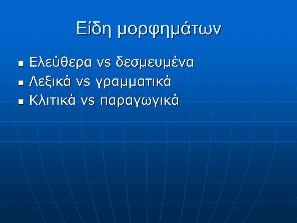 Είδη μορφημάτων Ελεύθερα vs δεσμευμένα Λεξικά vs γραμματικά