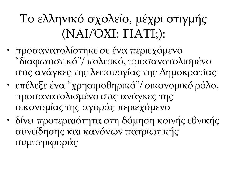 Το ελληνικό σχολείο, μέχρι στιγμής (ΝΑΙ/ΌΧΙ: ΓΙΑΤΙ;):