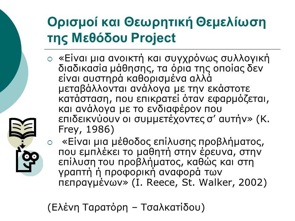 Ορισμοί και Θεωρητική Θεμελίωση της Μεθόδου Project