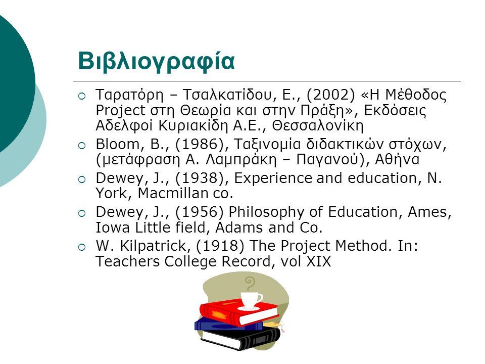 Βιβλιογραφία Ταρατόρη – Τσαλκατίδου, Ε., (2002) «Η Μέθοδος Project στη Θεωρία και στην Πράξη», Εκδόσεις Αδελφοί Κυριακίδη Α.Ε., Θεσσαλονίκη.