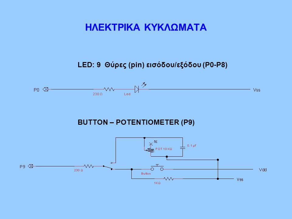 ΗΛΕΚΤΡΙΚΑ ΚΥΚΛΩΜΑΤΑ LED: 9 Θύρες (pin) εισόδου/εξόδου (Ρ0-Ρ8)