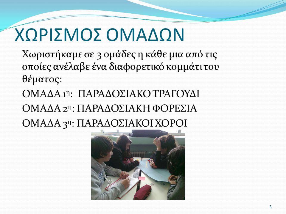 ΧΩΡΙΣΜΟΣ ΟΜΑΔΩΝ