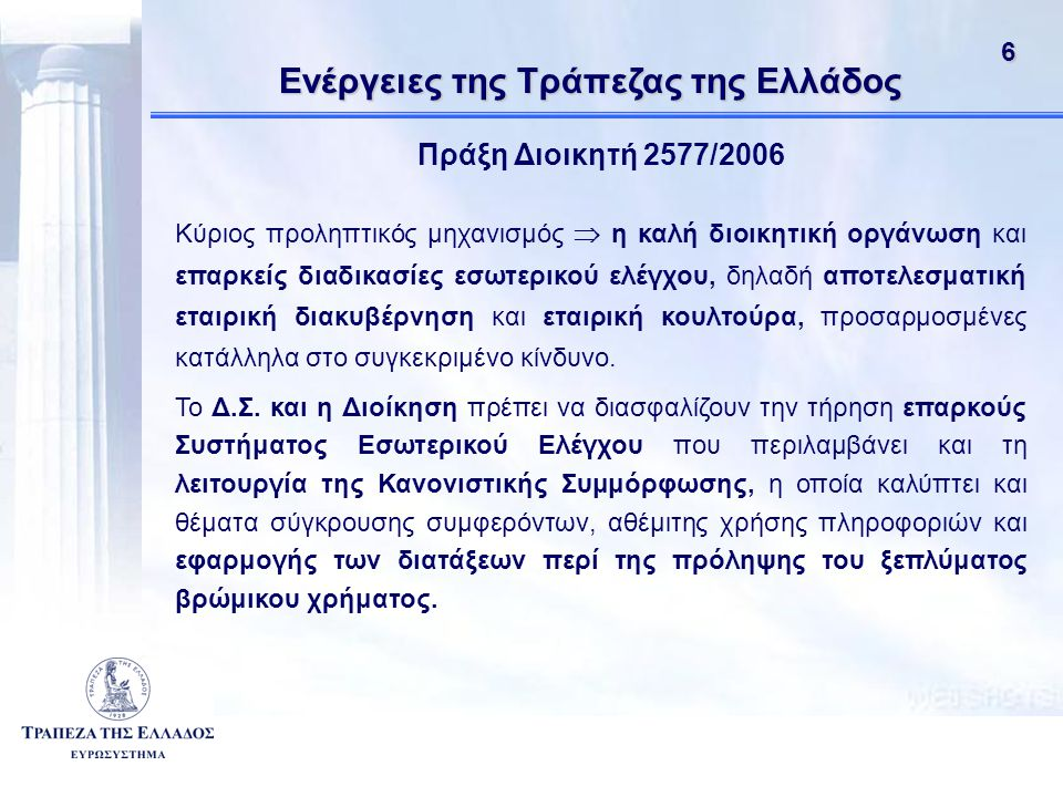 Ενέργειες της Τράπεζας της Ελλάδος