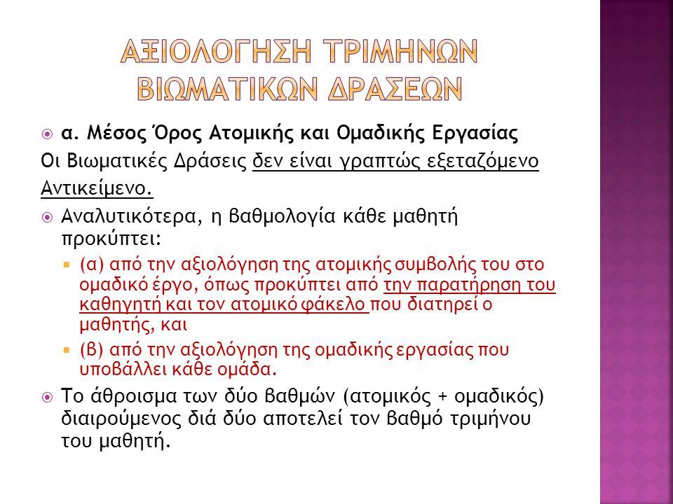 ΑΞΙΟΛΟΓΗΣΗ ΤΡΙΜΗΝΩΝ ΒΙΩΜΑΤΙΚΩΝ ΔΡΑΣΕΩΝ