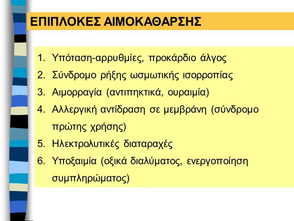 ΕΠΙΠΛΟΚΕΣ ΑΙΜΟΚΑΘΑΡΣΗΣ