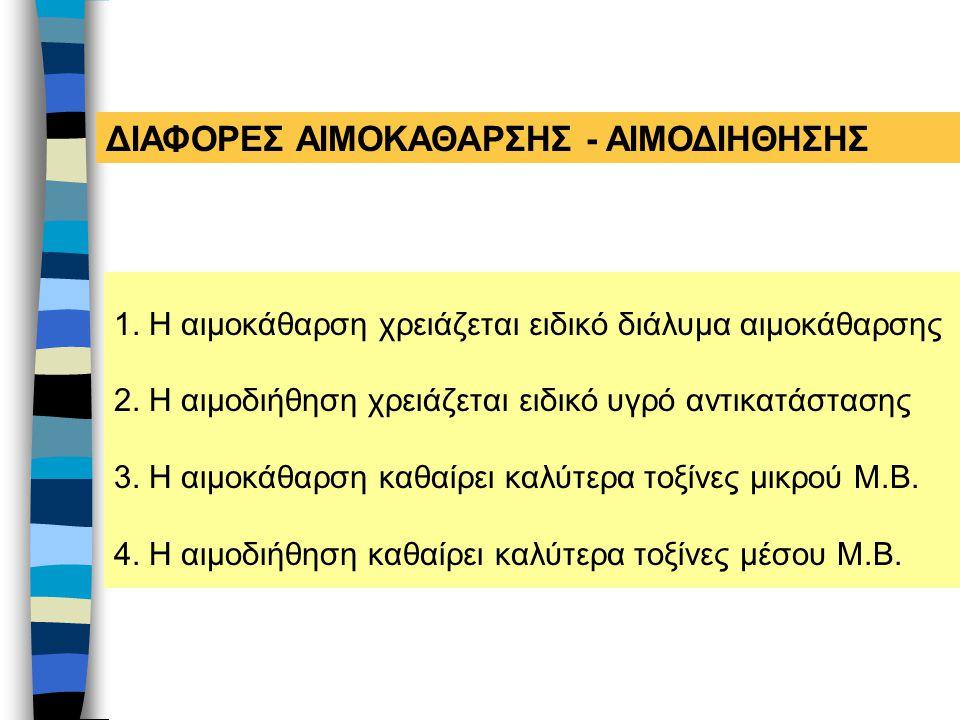 ΔΙΑΦΟΡΕΣ ΑΙΜΟΚΑΘΑΡΣΗΣ - ΑΙΜΟΔΙΗΘΗΣΗΣ
