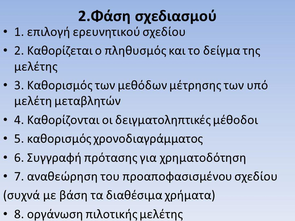 2.Φάση σχεδιασμού 1. επιλογή ερευνητικού σχεδίου