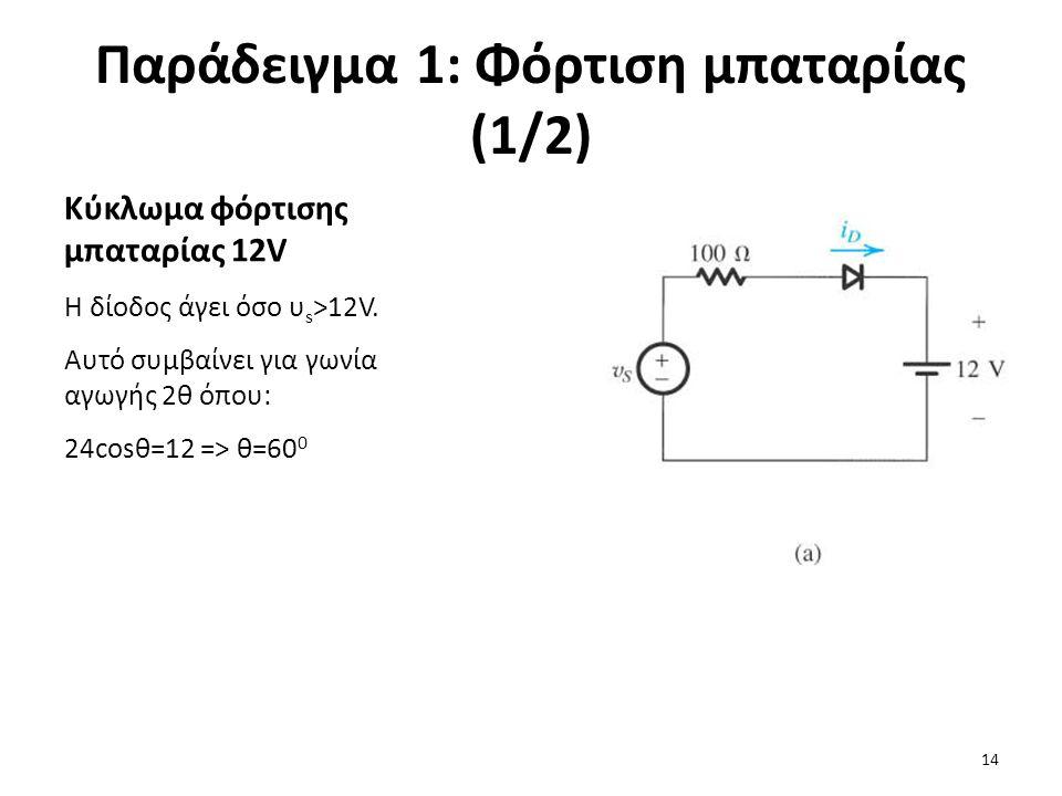 Παράδειγμα 1: Φόρτιση μπαταρίας (1/2)