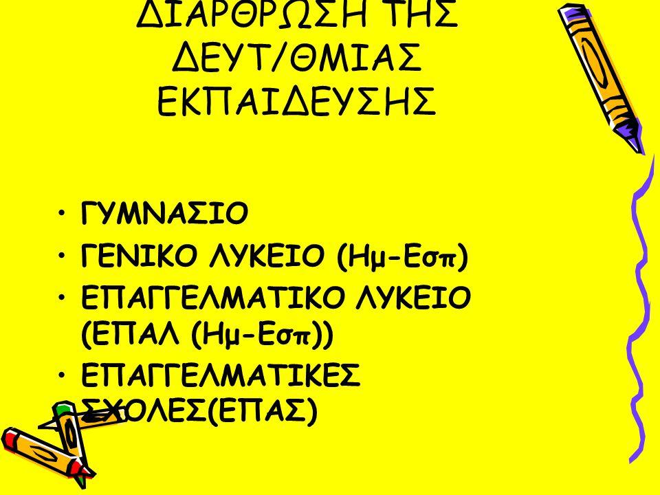 ΔΙΑΡΘΡΩΣΗ ΤΗΣ ΔΕΥΤ/ΘΜΙΑΣ ΕΚΠΑΙΔΕΥΣΗΣ