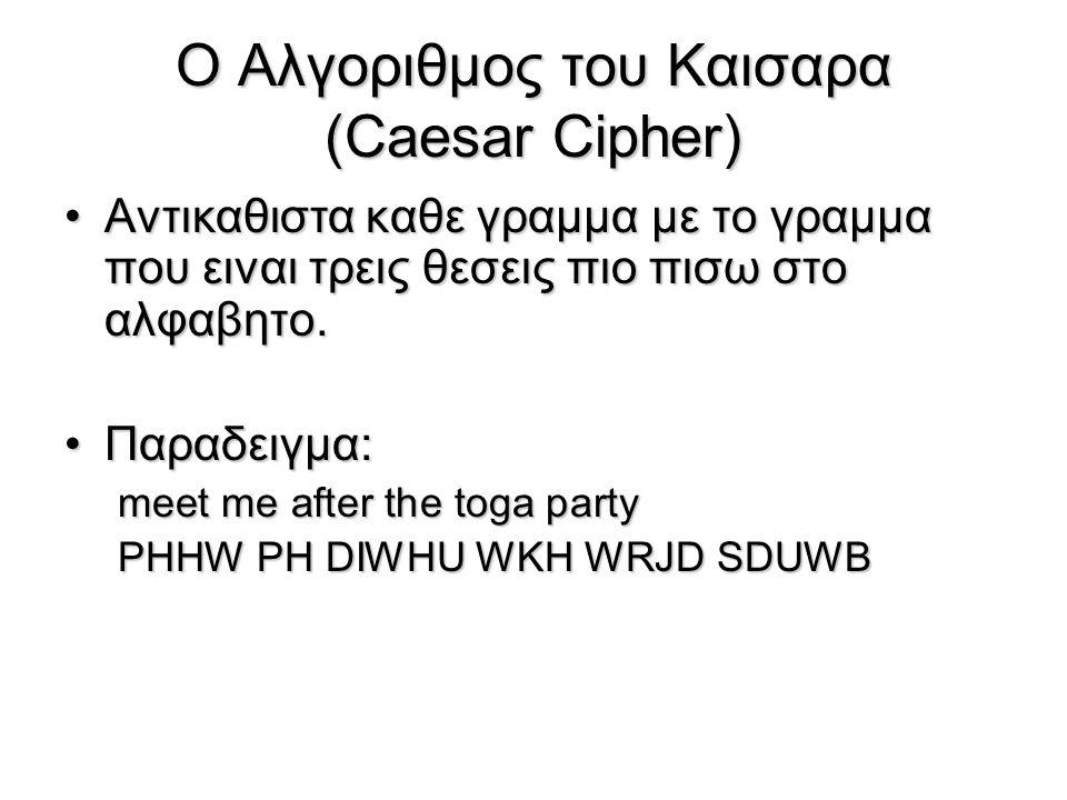 Ο Αλγοριθμος του Καισαρα (Caesar Cipher)
