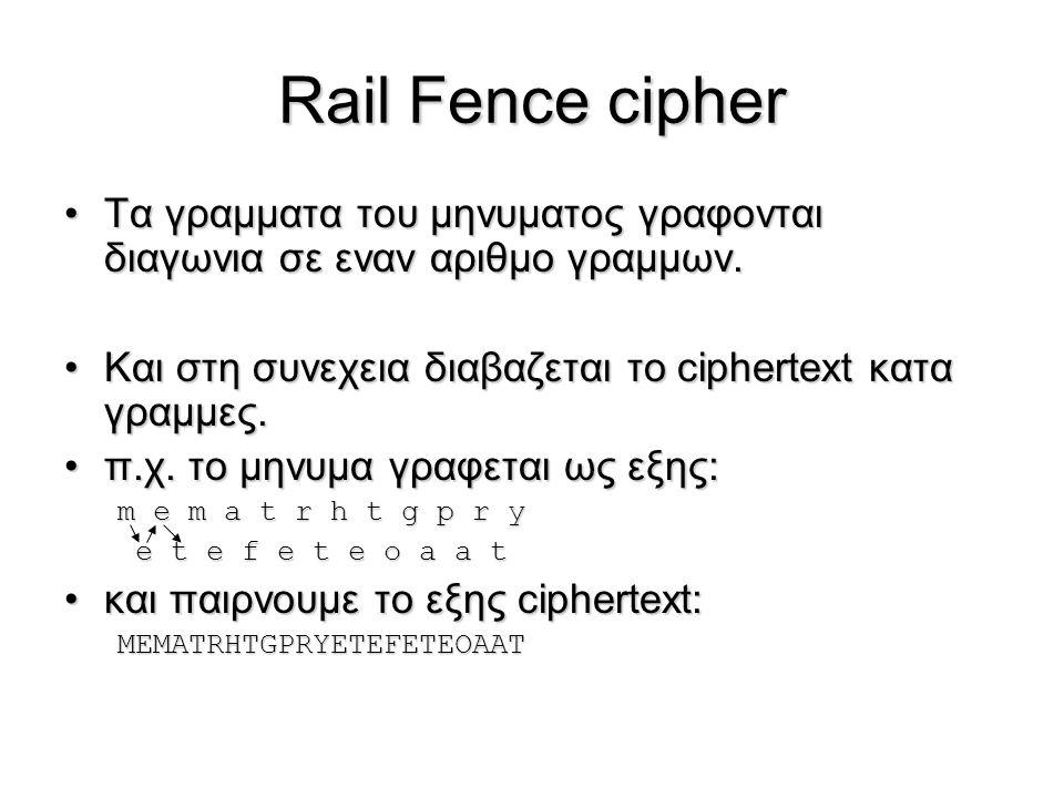 Rail Fence cipher Τα γραμματα του μηνυματος γραφονται διαγωνια σε εναν αριθμο γραμμων. Και στη συνεχεια διαβαζεται το ciphertext κατα γραμμες.