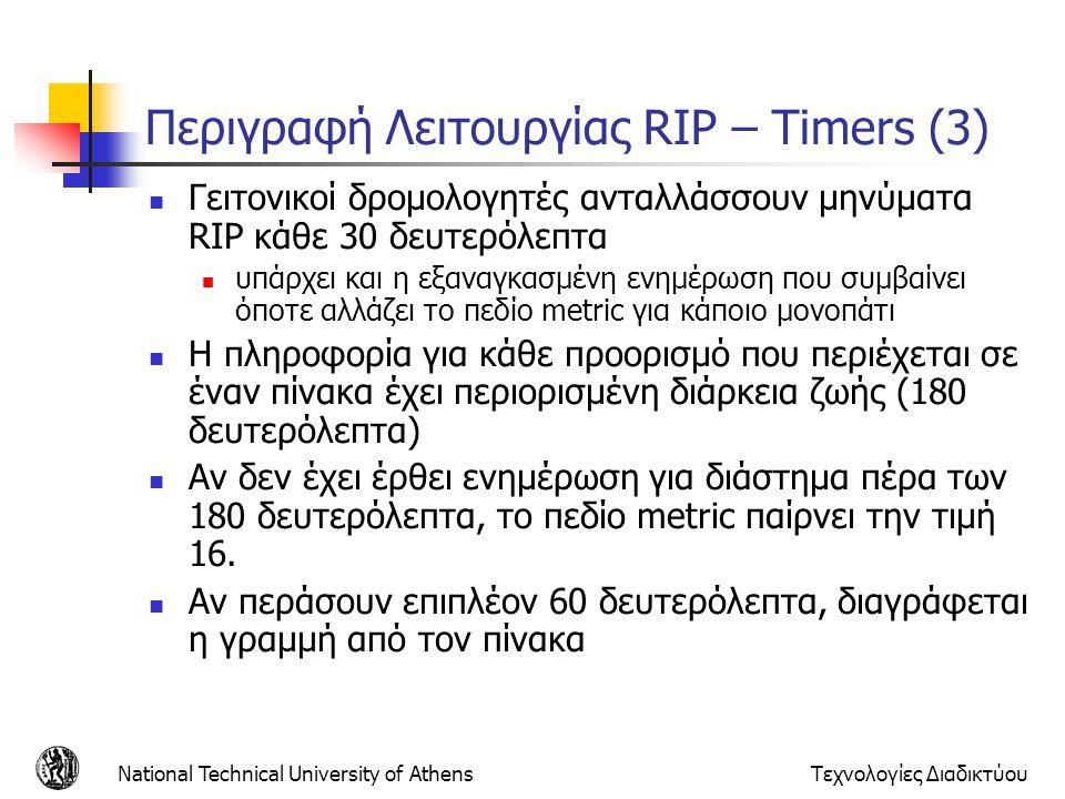 Περιγραφή Λειτουργίας RIP – Timers (3)