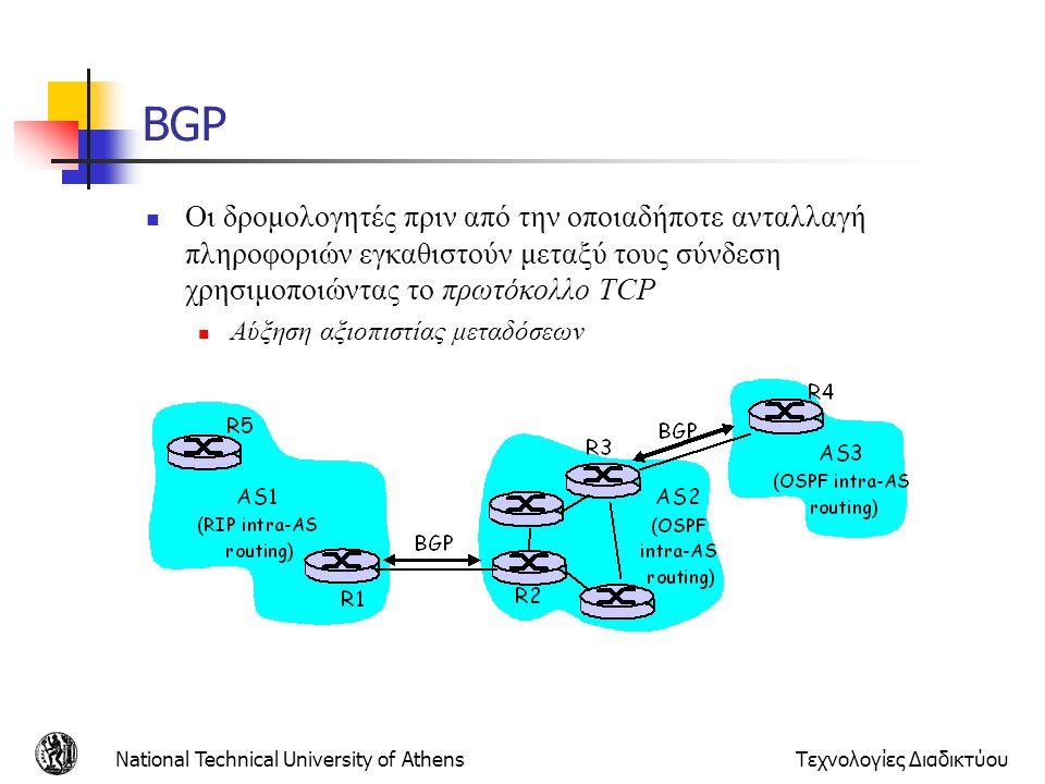 BGP Οι δρομολογητές πριν από την οποιαδήποτε ανταλλαγή πληροφοριών εγκαθιστούν μεταξύ τους σύνδεση χρησιμοποιώντας το πρωτόκολλο TCP.