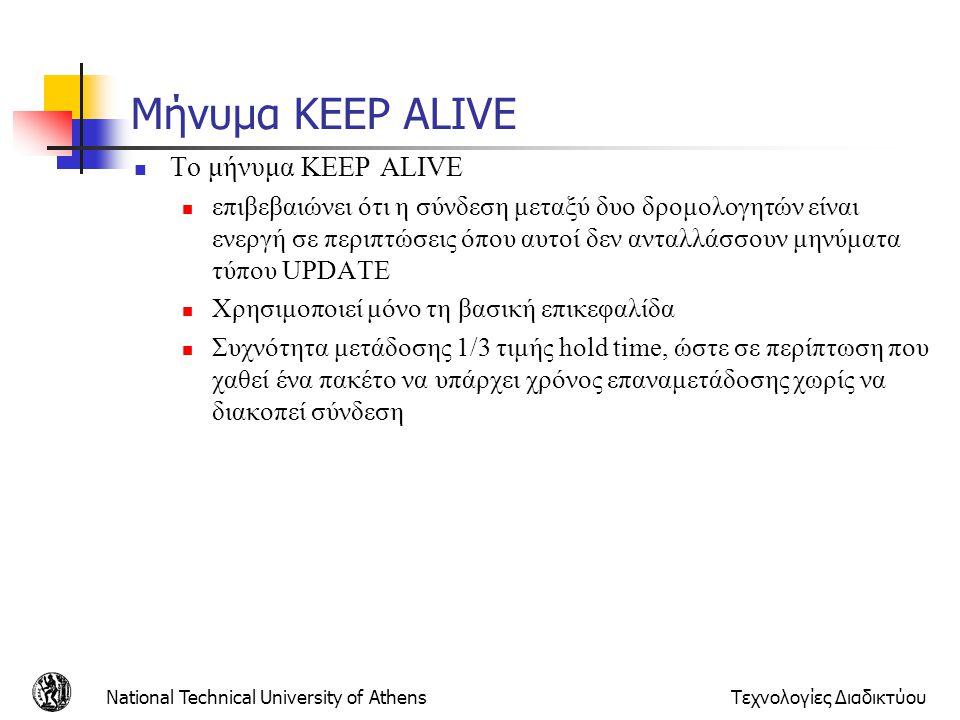 Μήνυμα KEEP ALIVE Το μήνυμα KEEP ALIVE