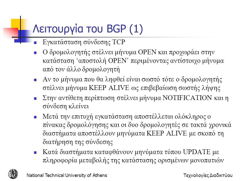 Λειτουργία του BGP (1) Εγκατάσταση σύνδεσης TCP