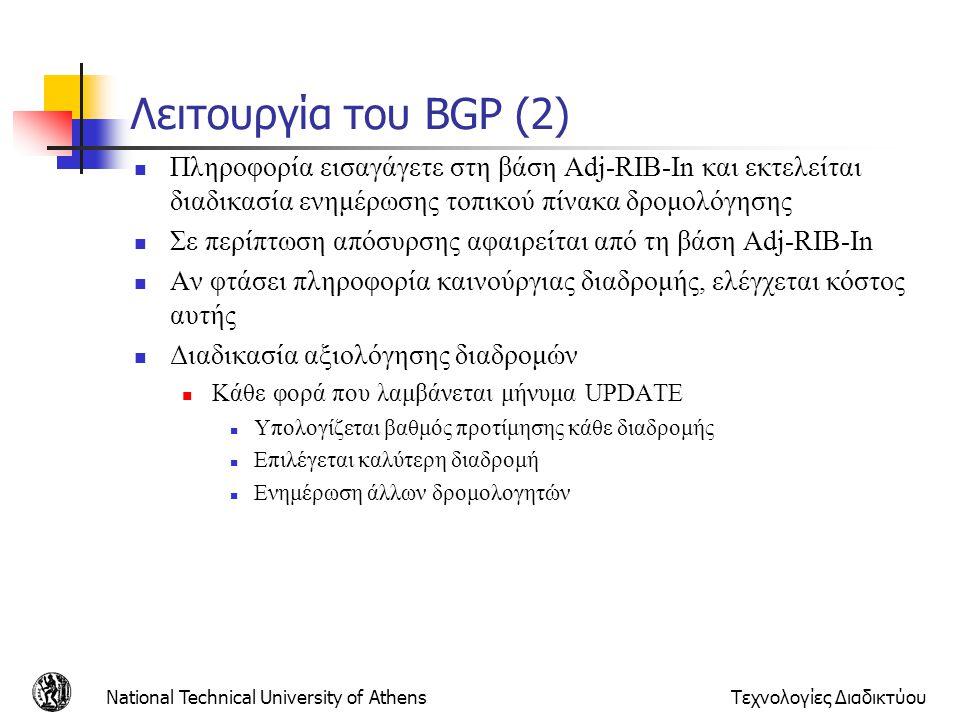 Λειτουργία του BGP (2) Πληροφορία εισαγάγετε στη βάση Adj-RIB-In και εκτελείται διαδικασία ενημέρωσης τοπικού πίνακα δρομολόγησης.