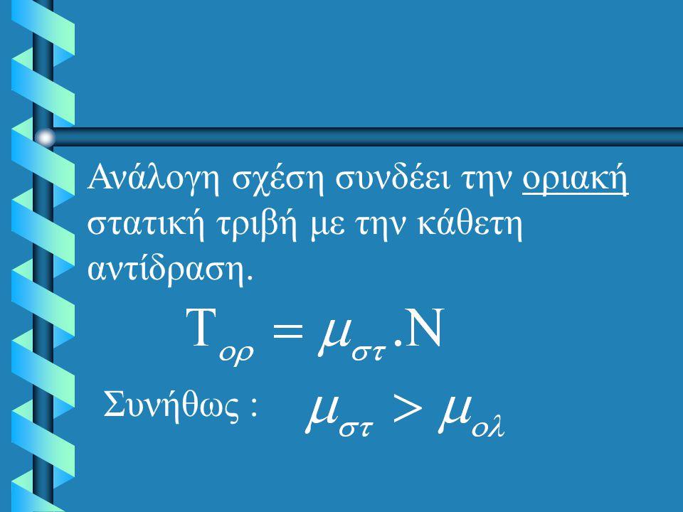 Ανάλογη σχέση συνδέει την οριακή στατική τριβή με την κάθετη αντίδραση.