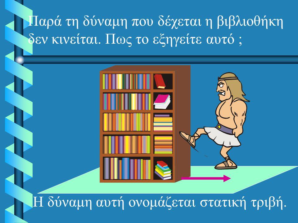 Παρά τη δύναμη που δέχεται η βιβλιοθήκη δεν κινείται