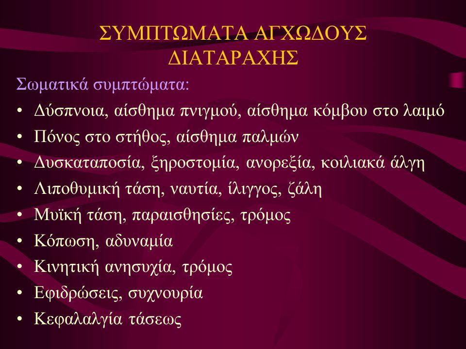 ΣΥΜΠΤΩΜΑΤΑ ΑΓΧΩΔΟΥΣ ΔΙΑΤΑΡΑΧΗΣ