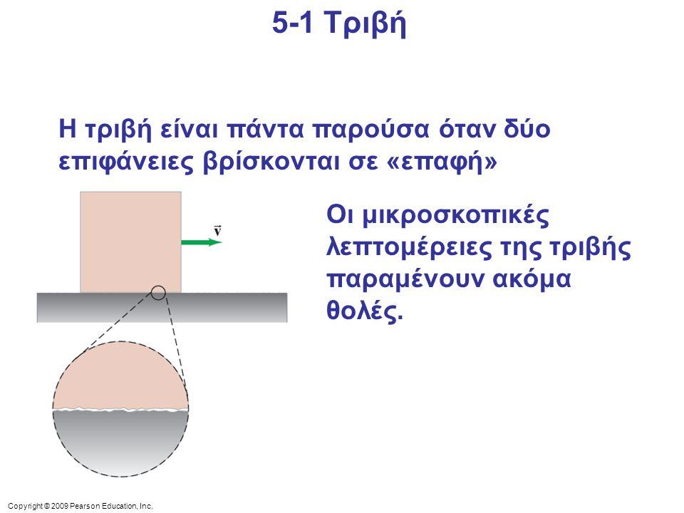5-1 Τριβή Η τριβή είναι πάντα παρούσα όταν δύο επιφάνειες βρίσκονται σε «επαφή» Οι μικροσκοπικές λεπτομέρειες της τριβής παραμένουν ακόμα θολές.