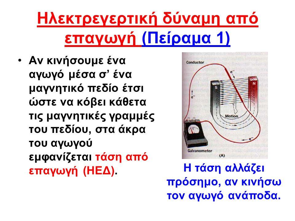 Ηλεκτρεγερτική δύναμη από επαγωγή (Πείραμα 1)