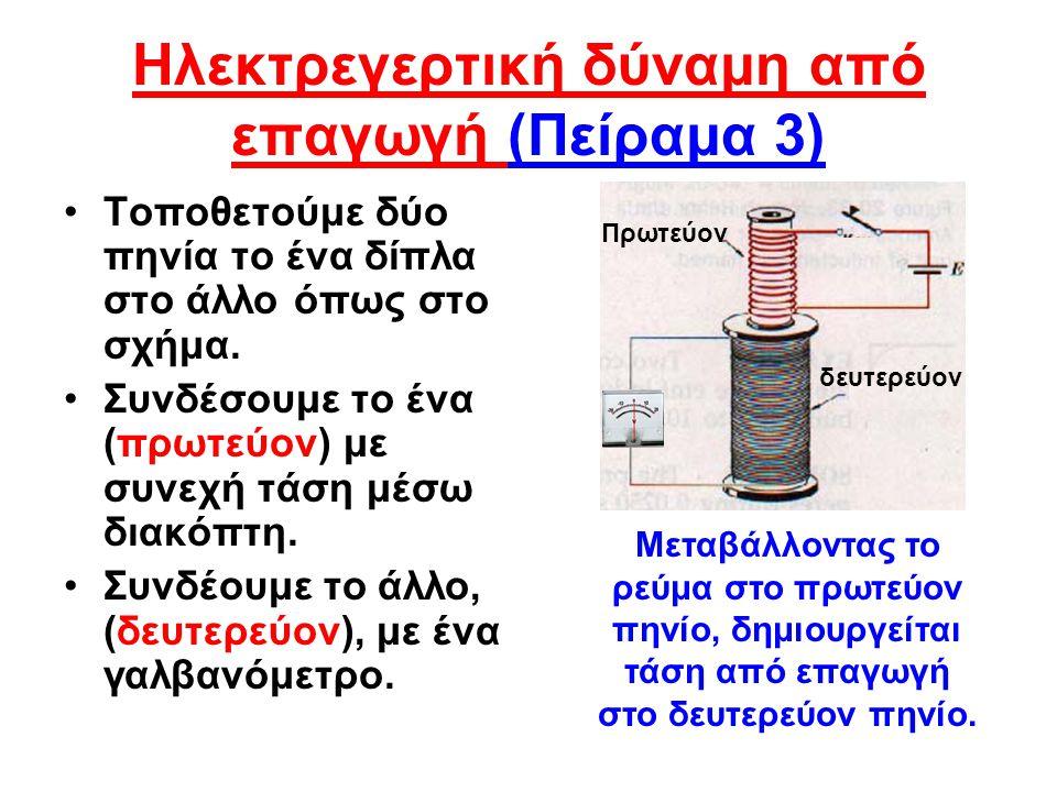 Ηλεκτρεγερτική δύναμη από επαγωγή (Πείραμα 3)